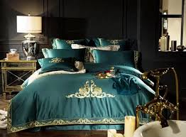 green luxury 100s egyptian cotton gold royal embroidery bedding set king queen duvet cover bed sheet linen pillowcases 4 fl bedding blue bedding from