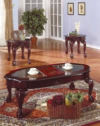 3 piece ashley's home store beautiful vintage wooden finish table set. Rich Cherry Traditional 3pc Coffee Table Set W Glass Inserts