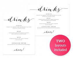 Drinks Menu Template Template Wedding Drink Menu Template 17