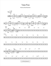 drum set sheet music take five drum tab by by dave brubeck drums 112239