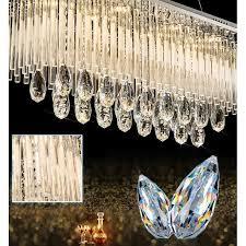 modern k9 crystal led rectangular pendant ceiling light chandelier remote control