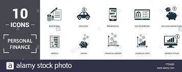 Online Budgeting Personal Finance Icons Set Collection Includes Simple