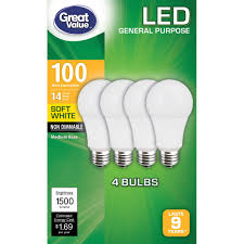 Light Bulb 100w Equivalent Great Value General Purpose Led Light Bulbs 14w 100w Equivalent Soft White Non Dimmable 4 Count Walmart Com