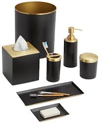 black bathroom accessories. Delighful Black Matte Black Metal Tailored With Sleek Goldtone Accents Creates The  Sophisticated Air Of Paradigm Tuxedo Black Bath Accessories Collection On Bathroom C