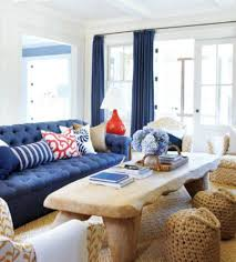 Nautical Living Room Design Nautical Living Room Decorating With Navy Blue Tufted Sofa