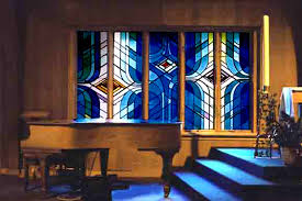 mouth blown leaded stained glass f rom a series of 12 windows holy family catholic church woodruff campus