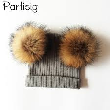2019 <b>Baby Hat Natural Raccoon</b> Fur Baby Cap Two Pompom Kids ...