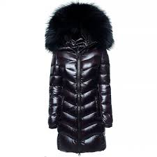 real fur hood winter coat winter jacket woman las black
