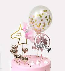 Karalee Hair Design Demissir Pack Of 8 Happy Birthday Cake Toppers Rose Pink Acrylic Castle And Cardboard Unicorn 5 Pu Heart Cupcake Toppers With Confetti Balloon For