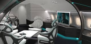 The lounge in the ABJ-Q has a principal seat with a control center allowing  the passenger to change all aspects of the cabin environment with  intuitive ...