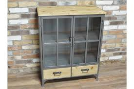 image is loading industrial metal solid wood storage cabinet glass doors