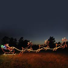 holiday lighting specialists 4 75 ft santa sleigh and reindeer outdoor decoration with led