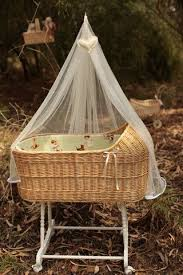 Wicker bassinet for babies with hood and canopy (mosquito net) made ...