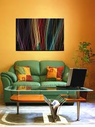 wonderful abstract painting in orange living room