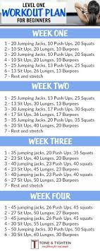 one month workout plan for beginners follow the link for video descriptions of exercises from tone and tighten