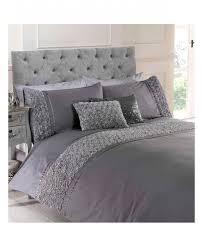 limoges rose ruffle grey super king duvet cover bedding set