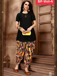 Dhoti Kurti Design For Girl 4201 Black Designer Stitched Rayon Kurti With Dhoti Kurtas