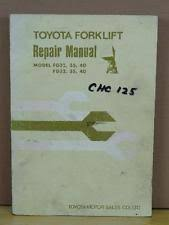 heavy equipment manuals books for toyota and forklift original toyota fg fd 32 35 40 forklift service repair overhaul manual book