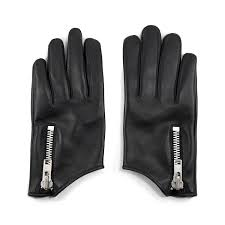 throttle black leather gloves