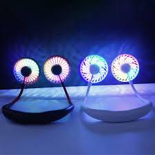Quạt Mini Cầm Tay Có Đèn Led Nhiều Màu