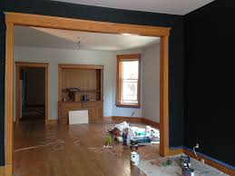 Farrow And Ball Black Blue Walls With Oak Wood Trim Farrow And - Dining room paint colors dark wood trim