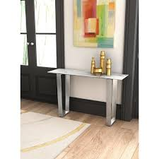 atlas stone and brushed stainless steel console table by zuo