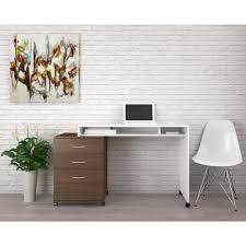 essentials white and walnut desk panel with 3 drawer filing cabinet