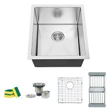 Torva 15 Inch Undermount Kitchen Sink 16 Gauge Stainless Steel Wet
