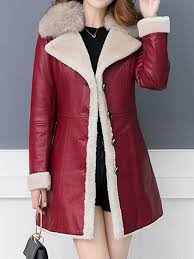 red pockets sashes single ted fur collar long sleeve fashion pu leather coat outerwears tops