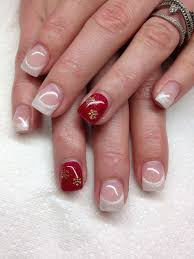 French Gel Nail Designs Holiday Themed French Gel Nails With Accent Nails