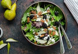 simple mixed green salad.  Simple Mixed Greens Salad In A Copper Bowl Full Of Mixed Field Greens Fresh Pear  Slices For Simple Green Salad L