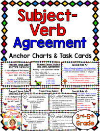 Subject Verb Agreement Chart Subject Verb Agreement Task Cards And Anchor Charts