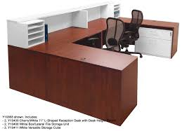 cherry white structures 2 person reception desk