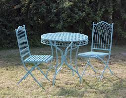 shabby chic outdoor furniture. Shabby Chic Metal Bisto Set In Blue Outdoor Furniture G