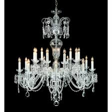 prague 18 light ceiling pendant in chrome and clear crystal finish with white candle sleeves