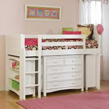 bedroom low loft bed for kid made of wooden in white finished having storage drawers and ladder also bookshelf as well as white loft beds with storage and
