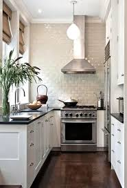 small white kitchens. Contemporary Small Narrow Black And White Kitchen With Hardwood Floors Silver Accents  Bright Subway Tiles With Small White Kitchens