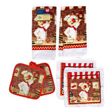red wine fat chef kitchen set 6pc towels potholders dishcloths bistro cook new