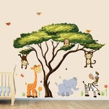 african tree with jungle animals wall decal wall stickers repositionable fabric african safari on jungle wall art for baby room with jungle wall decal nursery tree decals jungle decor by hwdecals