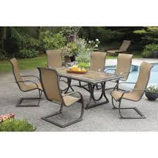 agio international panorama outdoor 9 piece high dining patio set. sling c-spring 7-piece dining set, porcelain table top agio international panorama outdoor 9 piece high patio set