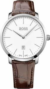 men s hugo boss swiss made signature brown leather watch 1513255 loading zoom