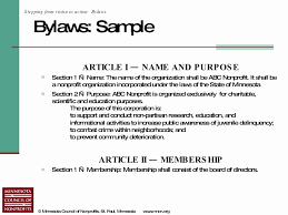 Bylaws Template For Non Profit Organization Xors3d Template 2018