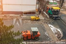 Road Machinery Rink Asphalt Lays Workers Laid Asphalt In