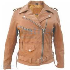 las brown motorcycle jacket front view