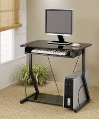 Small Standing Desk On Wheels Black Computer With Uder Sliding Panels For  Keyboard And Cpu Benefits