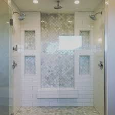 marble tile shower. Love! Inset Marble Subway Tile And White Tile, Double Shower, Floor Shower D