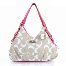 Coach Fashion Signature Medium Pink Ivory Shoulder Bags ERF Outlet Clearance