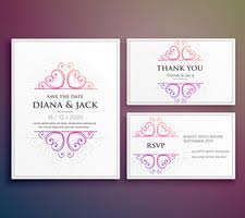 Wedding Card Design Mandala Style Wedding Invitation Template With Thank You And Rsv