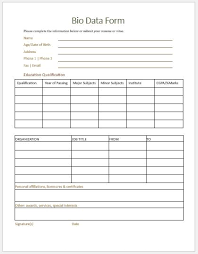 Biodate Format Bio Data Form Templates For Ms Word Word Excel Templates