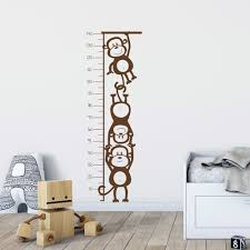 Monkey Growth Chart Wall Kids Monkey Height Chart Wall Decal